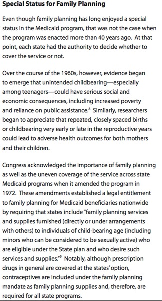 Medicaid  family planning, excerpt from Guttmacher report at http://www.guttmacher.org/pubs/IB_medicaidFP.pdf